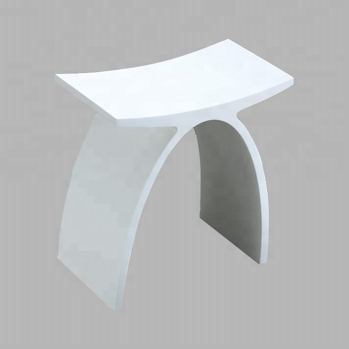 Wholesale KKR-Stool-A Houseware Solid surface Shower Stool Pure Acrylic Shower Stool