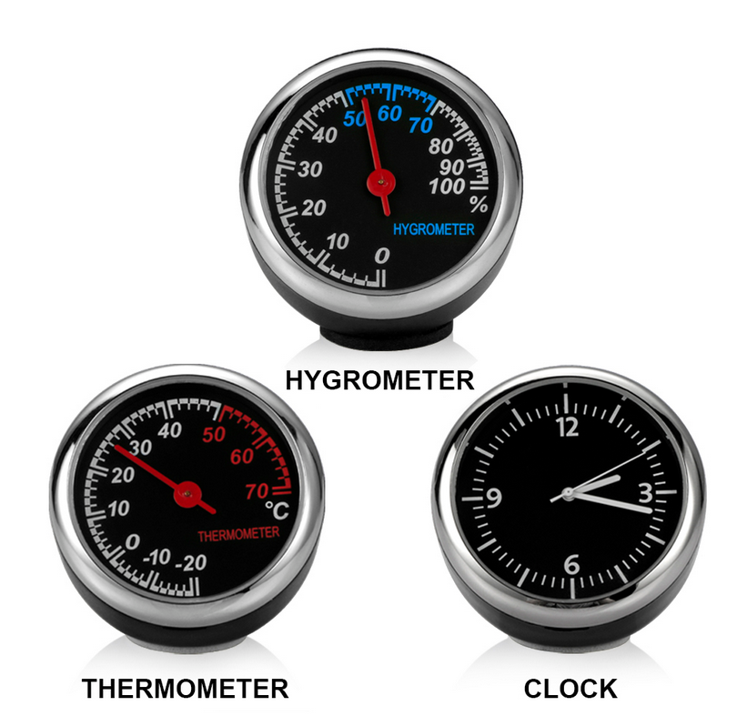 FY Mini fashion Car Automobile Digital Clock Auto Watch Automotive Thermometer Hygrometer Decoration Clock In Car Accessories