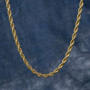 KRKC&CO Mens Hip Hop Chain 3MM 22inch Rope and Gold Chain Mens Necklace 18K Gold Rope Chain
