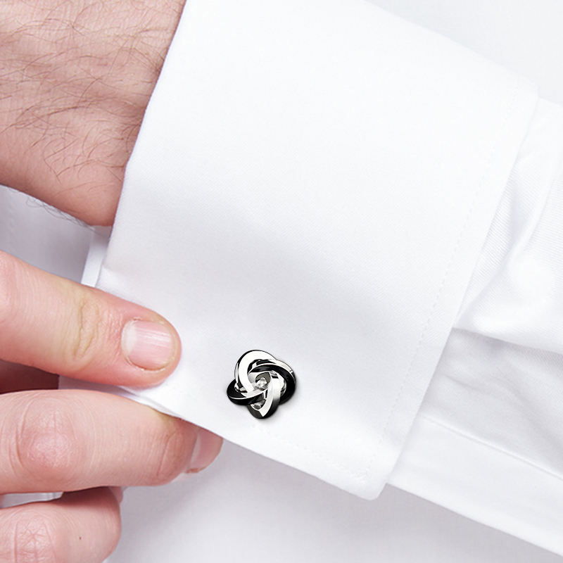 Custom Cuff link Knot Gold Plated Cufflink with Gift Box
