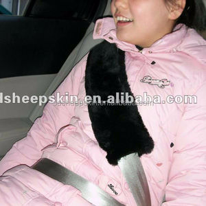 Sheepskin Car Seat Belt Covers Black Color