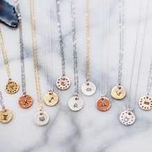Inspire jewelry personalized gifts necklace Women Zodiac Sign celestial horoscope taurus cancer disc Charm constell engraved