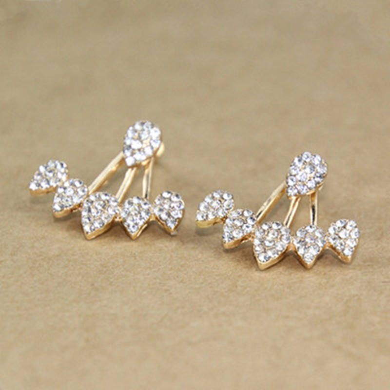 New Pearl Heart Crystal Flower Leaf Angel Wings Geometry Stud Earrings For Women Statement Ear Jewelry Wholesale