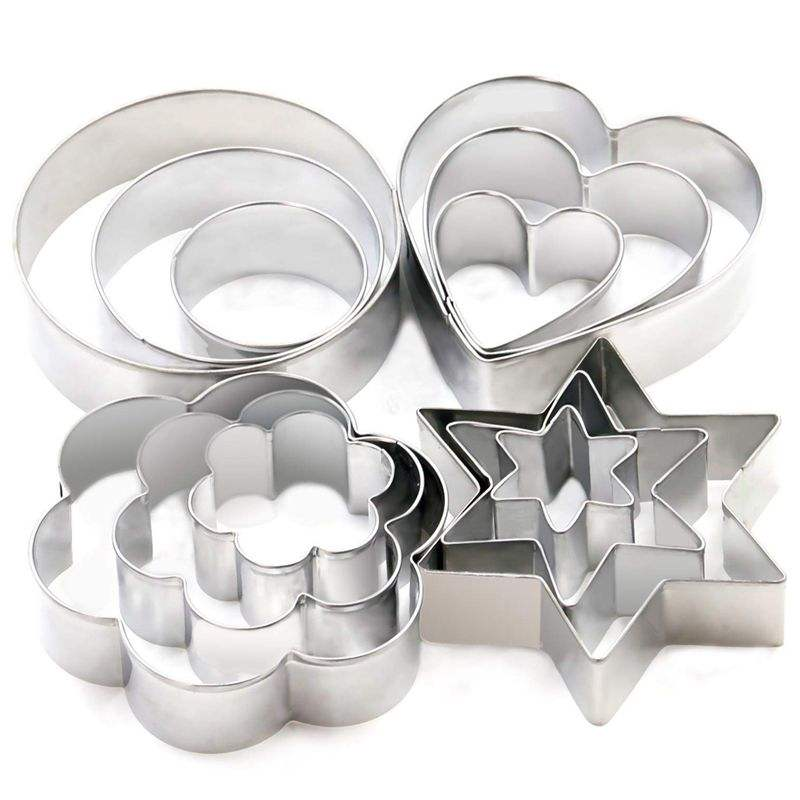 Stainless Steel Metal Party Cookie Cutters Mini Geometric Shapes Cookie Cutters, Vegetable Shape Cutters for Kitchen, Baking