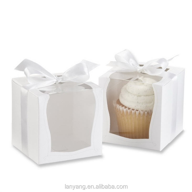 "Party Shower Favor Gift Container 3.5 ""Wit Cupcake Muffin Cake Dozen Enkele Cupcake Doos"