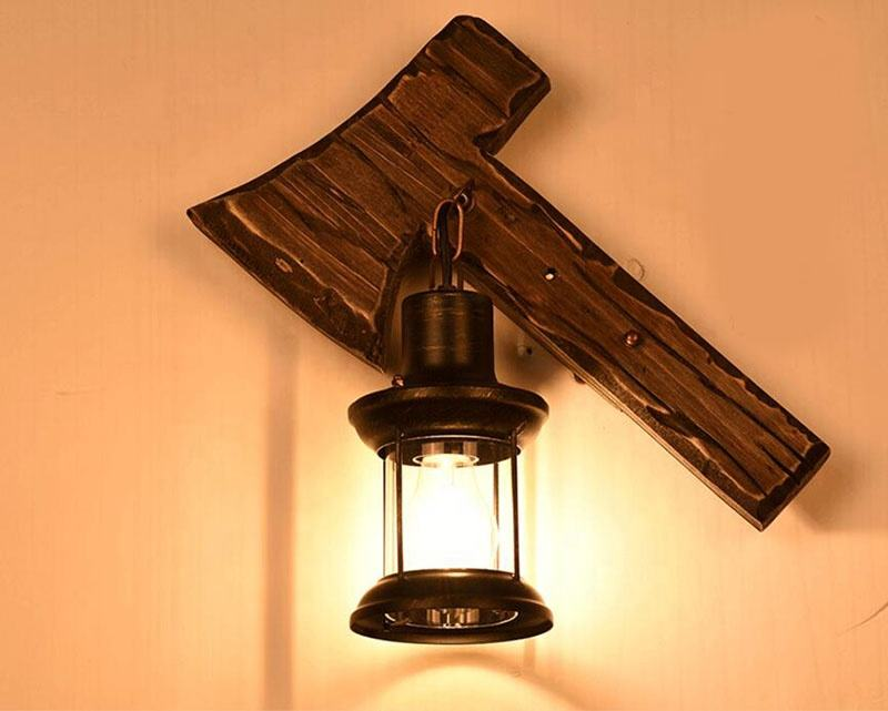 Maso Fashion Retro Industrial Iron Wooden Axe Shaped LED Light Wall lamp Wall Light Wall Sconce For Bar Loft with Edison Bulb
