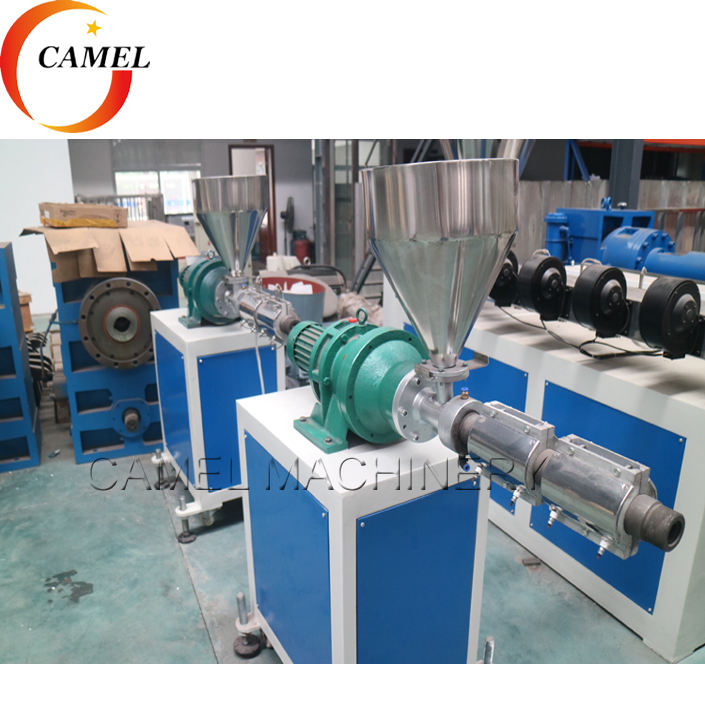 Small capacity plastic extruder for pipe profile color line