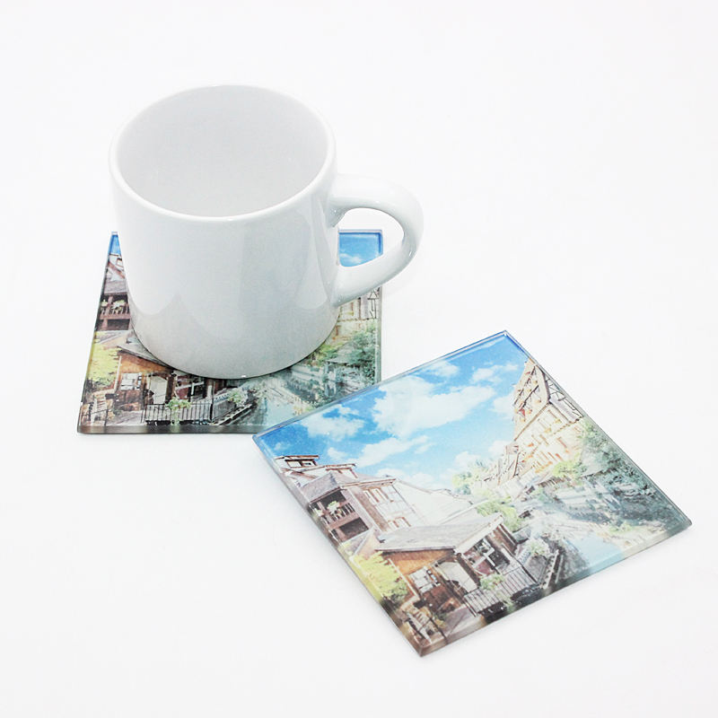High quotality glass material sublimation blank glass coaster and heat transfer tea coaster for bar or home design