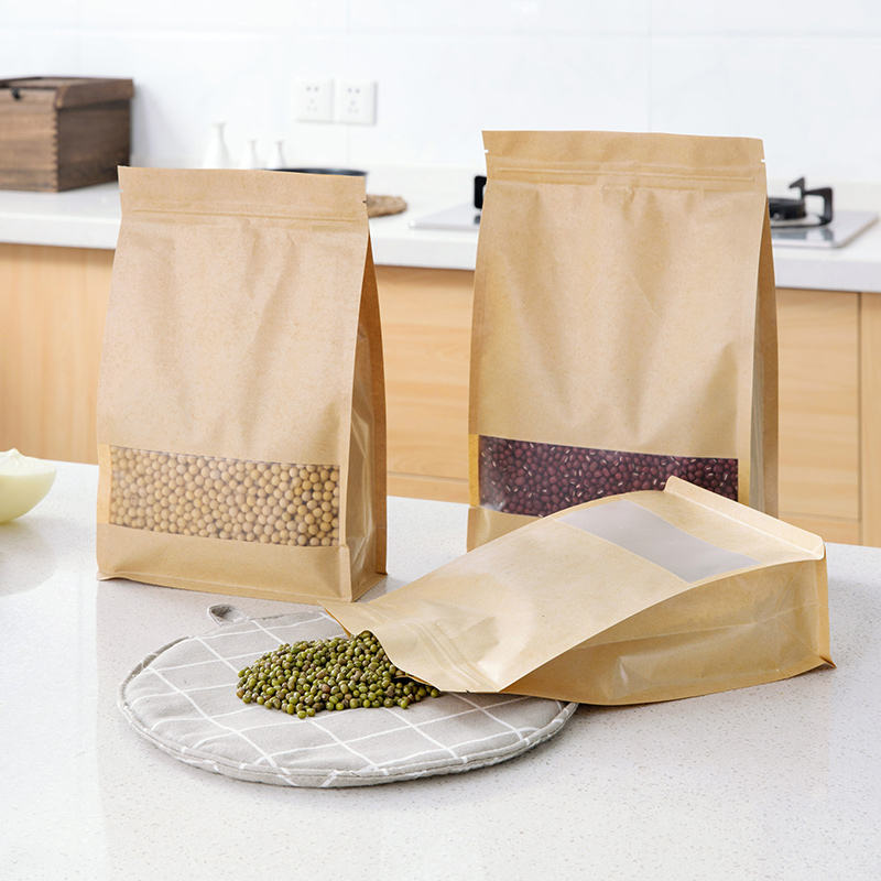 Wholesale Food Packaging Recycled Zip Top Brown Craft Paper Bag With Window