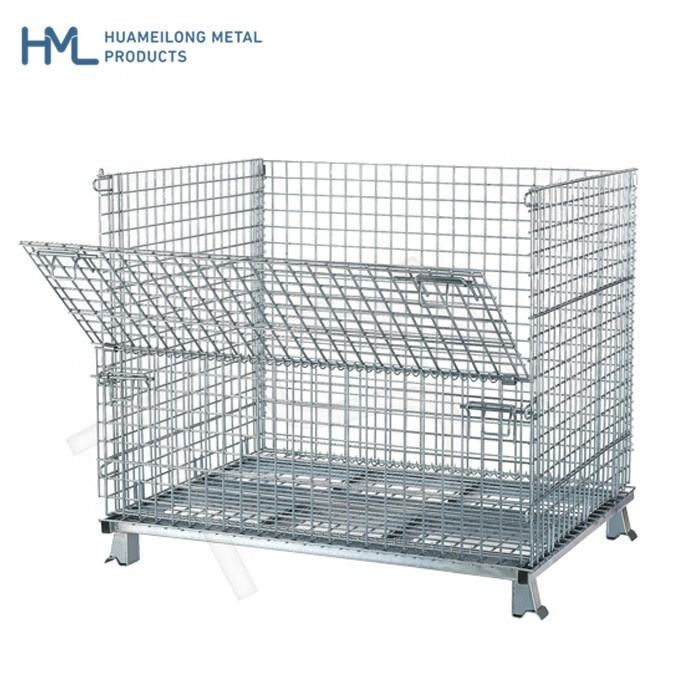Euro warehouse movable foldable stackable recycle standard industrial steel mobile wire mesh galvanized storage cage