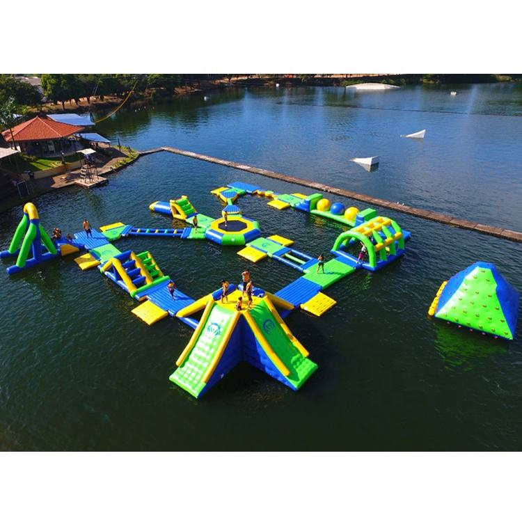 Brazil Inflatable Fun Aqua Park Equipment / Boucia Inflatable Commercial Water Park Design Build For Sale