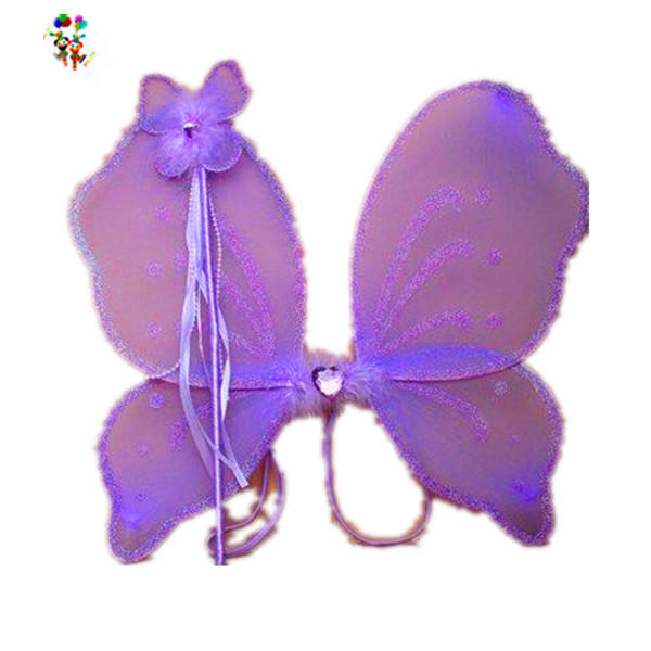 Kids Fancy Dress Dance Cheap Purple Fairy Wings with Wand HPC-0875