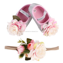 Newborn Baby Girls Shoes Children 3D Handmade Flower Shoes with Sequin Headbands