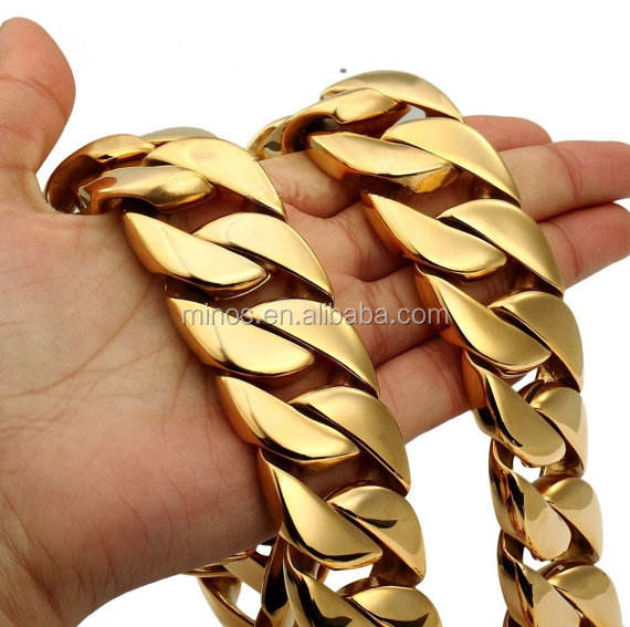 Chunky Miami Cuban Link Chain Necklace Super Strong Gold Stainless Steel Necklace Rocker Rapper Heavy Necklace
