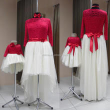 family matching clothes Set mother and daughter Fashion Lace Tulle short front long back Maxi Red Dress For Mother Daughter