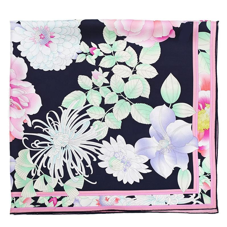 Chinese Custom Lady Screen Printing Flower Pattern Twill Short Neck Silk Scarves mit Logo