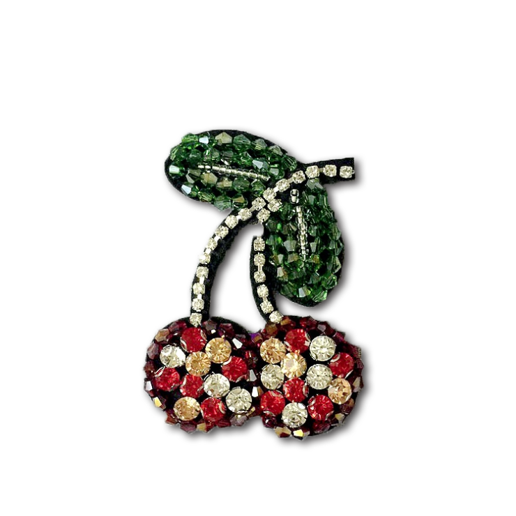 Rhinestone Cherry handmade Beaded Patch for Clothing Sewing on Beading Applique Clothes Shoes Bags Decoration Patch