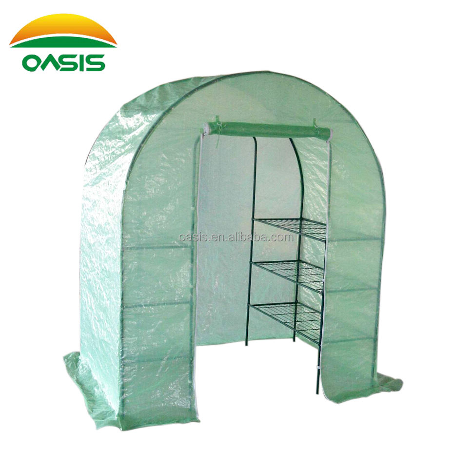 small portable steel tube greenhouse with window for garden hobby