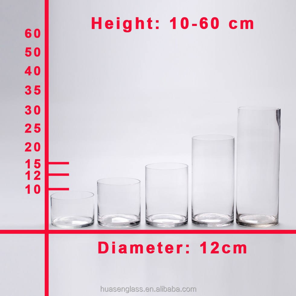 Factory Price Tall Liquid Glass Candle Holders Recycled Glass Cylinders For Candle