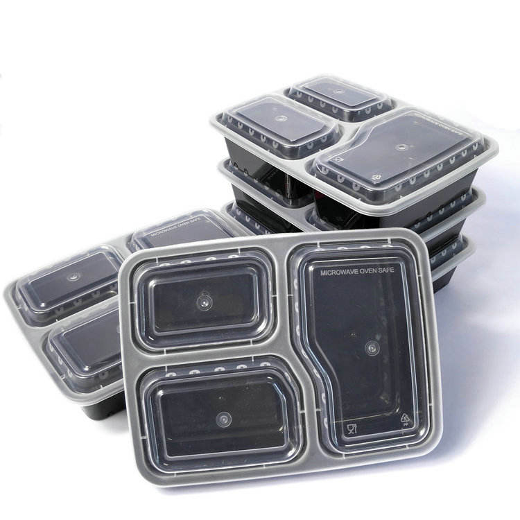 Small MOQ 3-compartment disposable food container