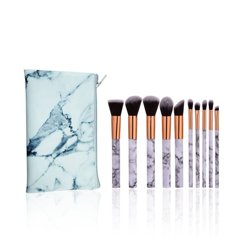Pirvate Label Beauty Product 10 pcs White Marble Handle Cosmetics Make Up Brushes Flat Makeup Brush Set