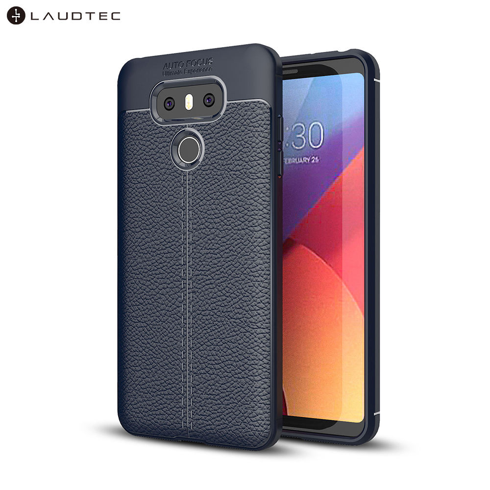Laudtec Litchi Leather Pattern TPU Back Cover Phone Case For LG G6