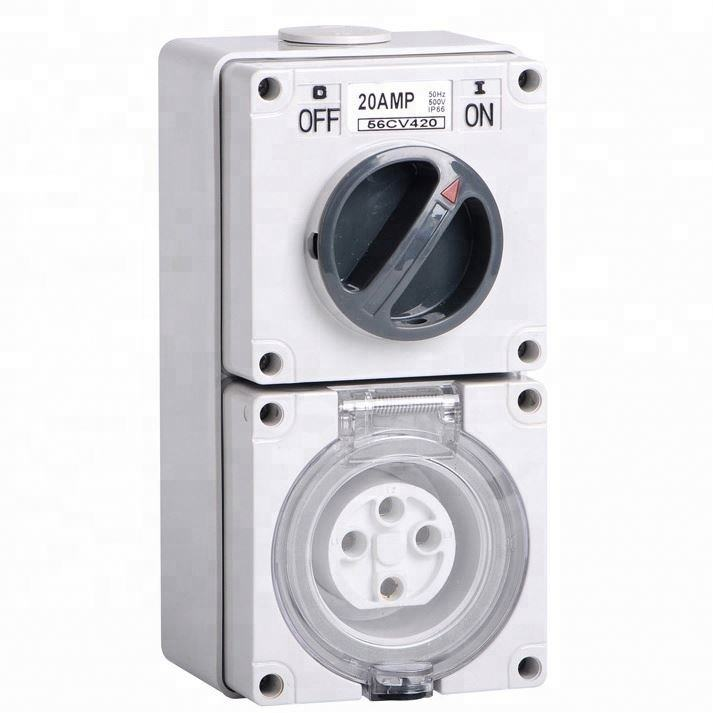 IP67 Australia Standard Three phase 56CV410 4 round pin 250V/500V 10A Electric waterproof industrial Combination switch socket