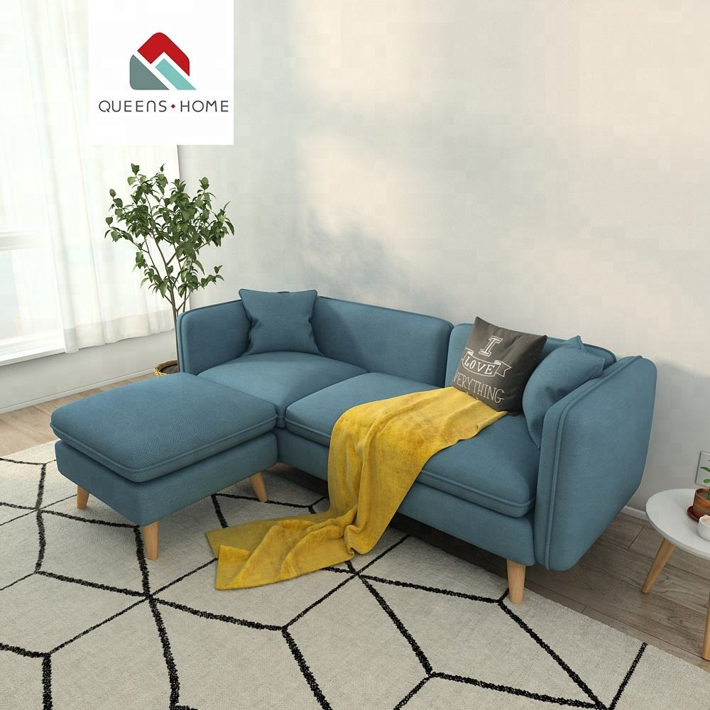 Queenshome Modern Upholstery fabric Bright-colored bamboo design furniture sofa for living room sofa set
