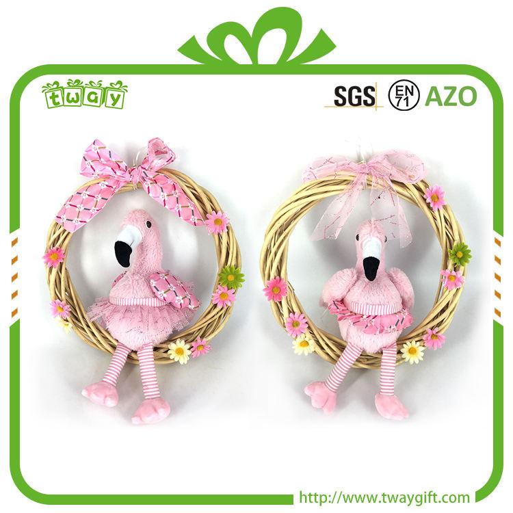 Neue design pinky flamingo sitzen künstliche <span class=keywords><strong>rattan</strong></span> girlande wand hängende dekoration