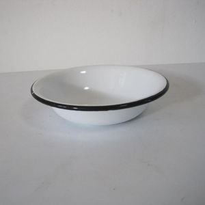 Dia 14 Customized Dinnerware Enamel Food Plate Pie Dish with Roll Rim