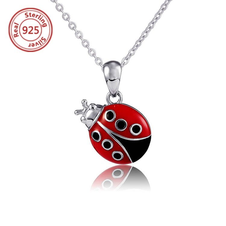 Ladybug Necklace silver long chain necklace ladybird necklace fun jewellery garden kawaii jewelry