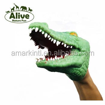 Stretch Crocodile Hand Puppet finger , rubber plastic animals squishy OEM OBM factory promotion finger hand puppet animal