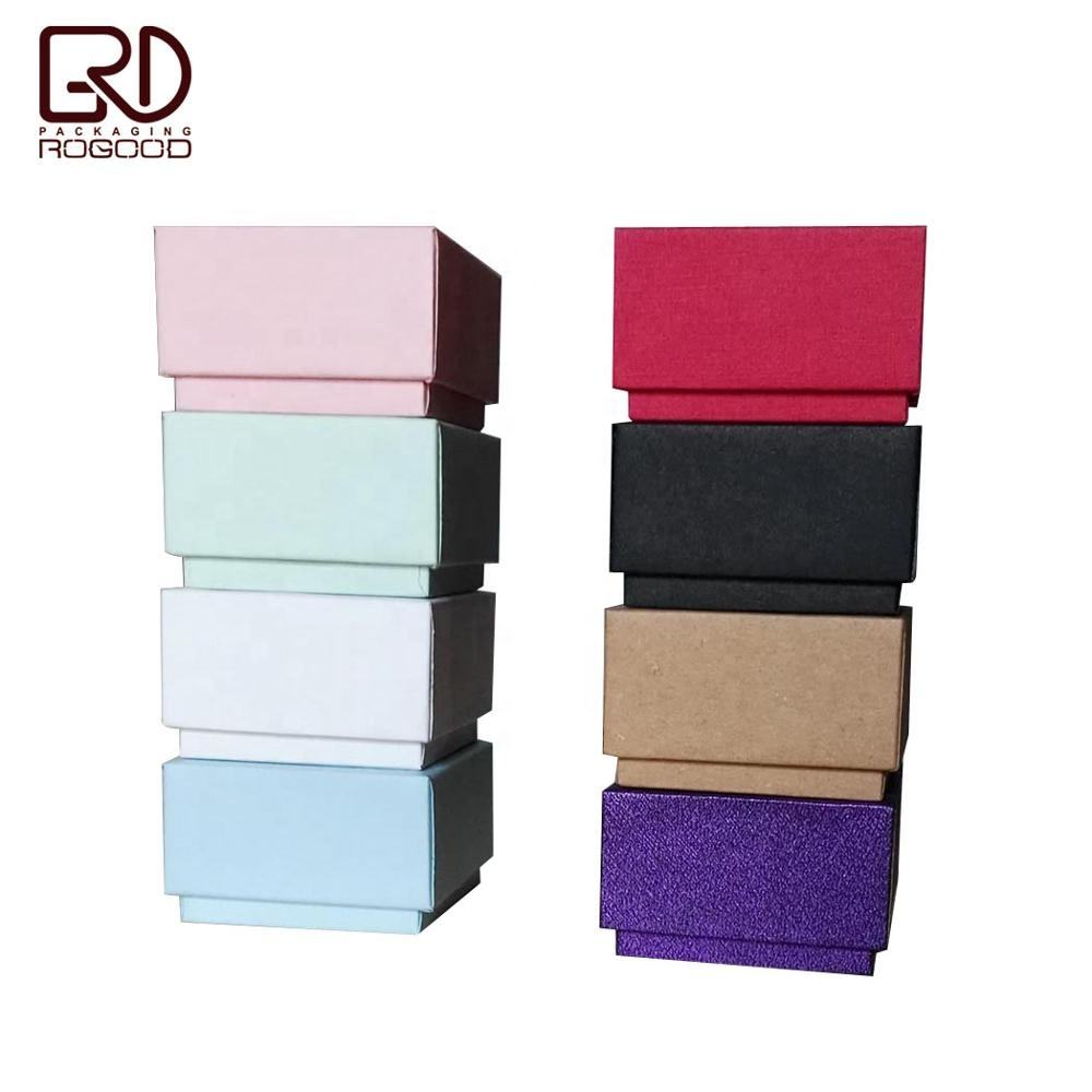 Square corner cardboard lid and base paper jewelry ring box accept custom logo