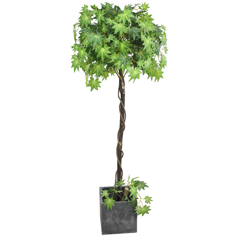 Slik Artificial Maple Tree with Plastic Pot Artificial Japanese Maple Tree Wood Trunk with Natural Vines for Home Decoration