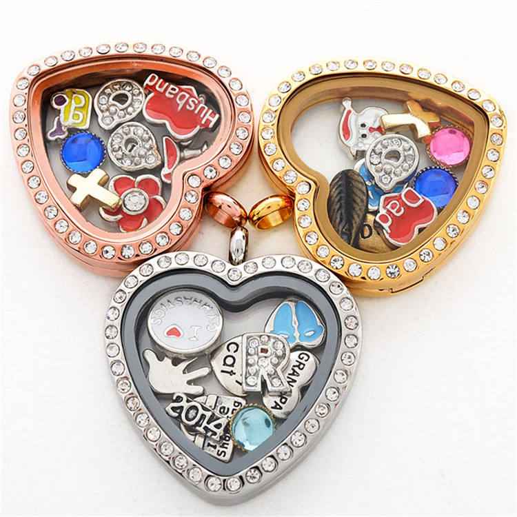 High quality heart shaped stainless steel floating magnet glass lockets with crystal