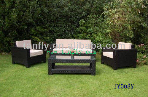 JY008Y 4 Pcs Outdoor Rattan Wicker Sofa Sectional Patio Furniture Set (Light Brown)