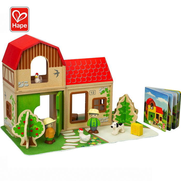 Hape Children Education Animals Farm House Toys,Wooden Toy Farm House