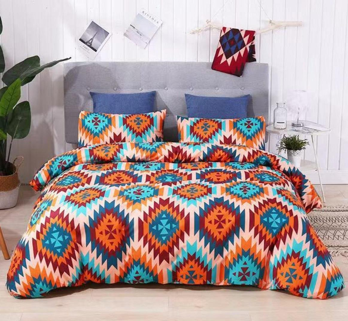 Quilt and pillows- Luxury microfiber comforter set - patchwork duvet cover- sheet set in bedding packaging