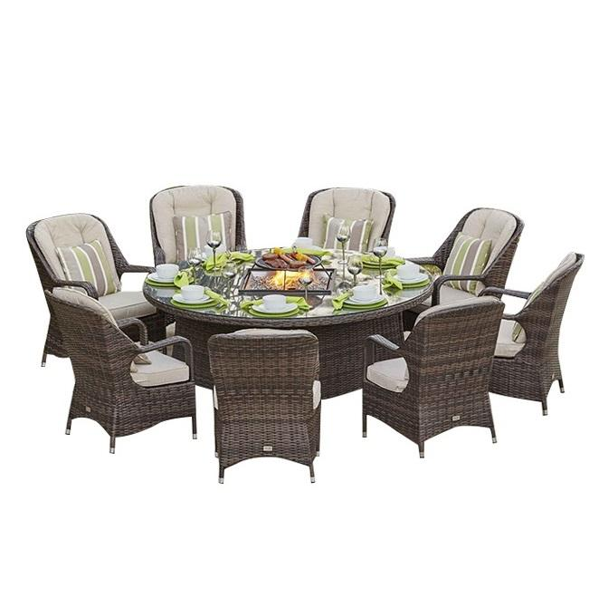 Patio Garden Rattan Wicker Furniture Gas Stove BBQ Round Table Outdoor with 8 Chairs