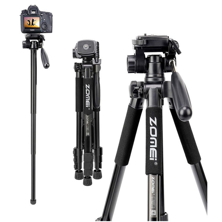 ZOMEI Q222 Lightweight Aluminum Tripod Monopod Portable Travel Camera Stand with 3-Way Pan Head and Carry Bag
