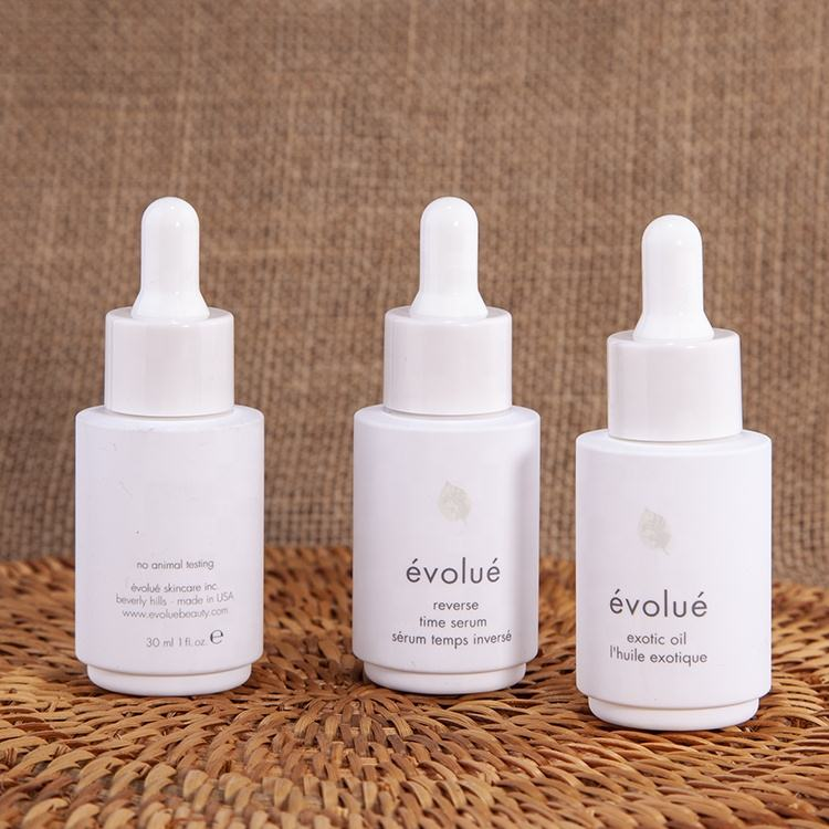 Essential serum milky white PET plastic 30ml dropper bottle