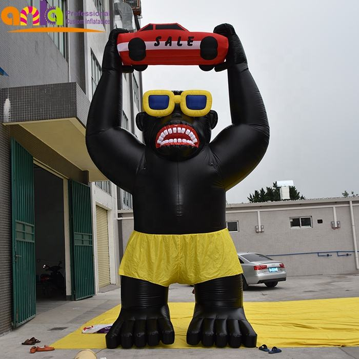 Factory price hot sale inflatable gorilla with car model for advertising promotion