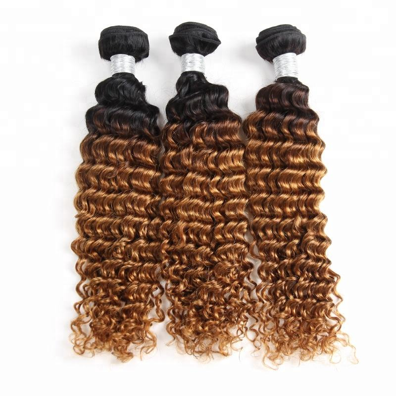 Hair Products for Black Woman Dropship Brazilian Deep Curly Ombre Human Hair Weave 1b 4 30