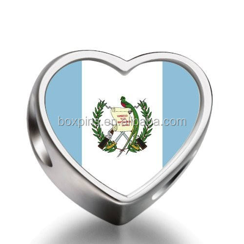Guatemala flag Heart Photo Charms Beads bead