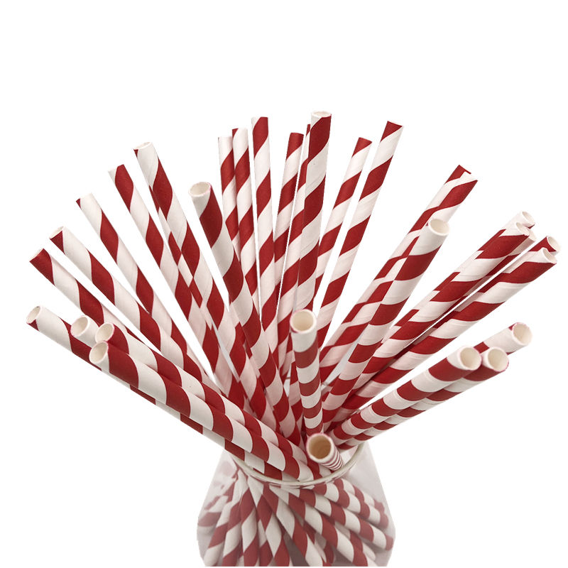 Food grade Original Factory Natural Eco-friendly Full Color Drinking Striped Paper Straws