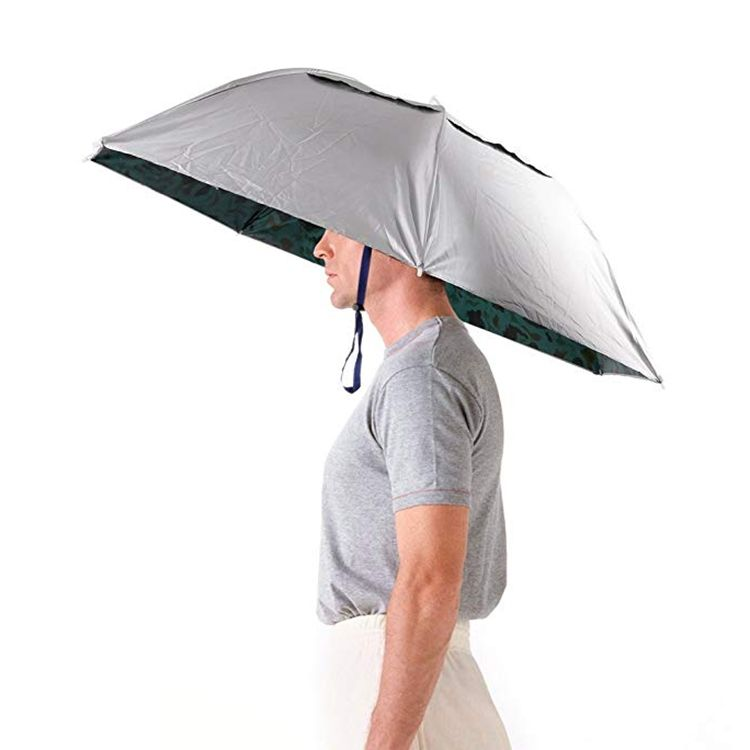 Wholesale promotional foldable hands free head hat umbrella for outdoor activities