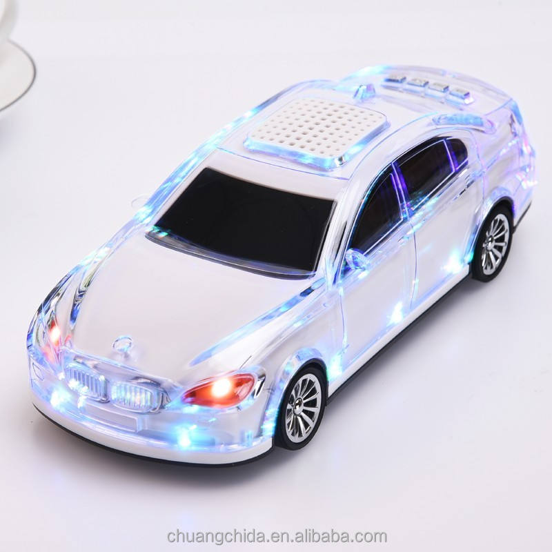 Factory price portable handsfree car shape led wireless speaker with fm radio