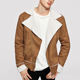 Men Camel Jackets Men Shearling Lined Suede Camel Solid Notched Collar Jackets