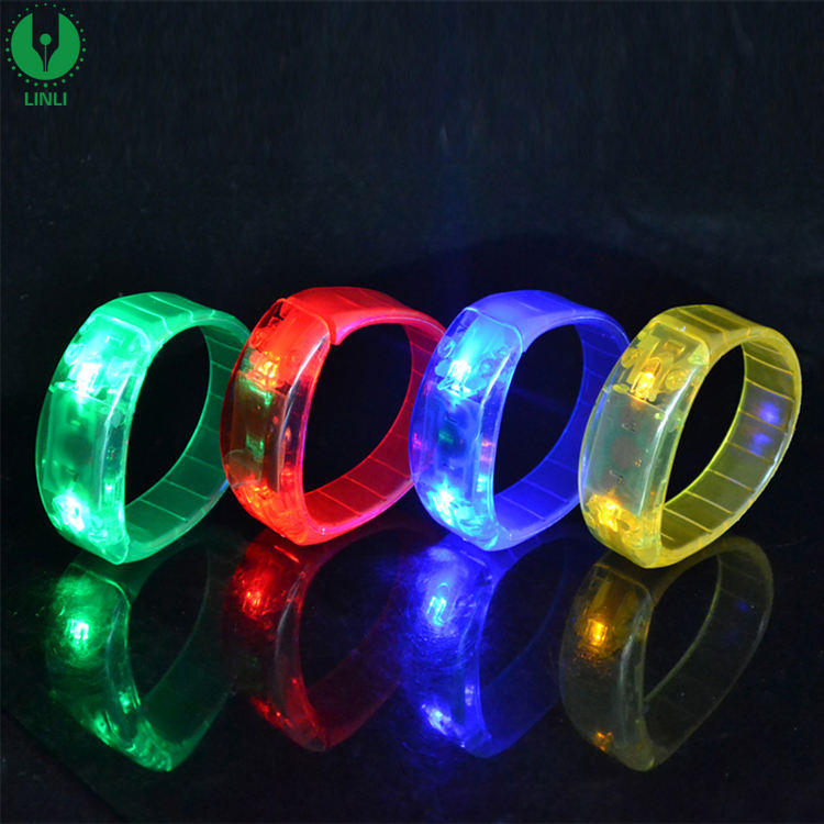 Customized PVC Sound Activated Led Glow Bracelet
