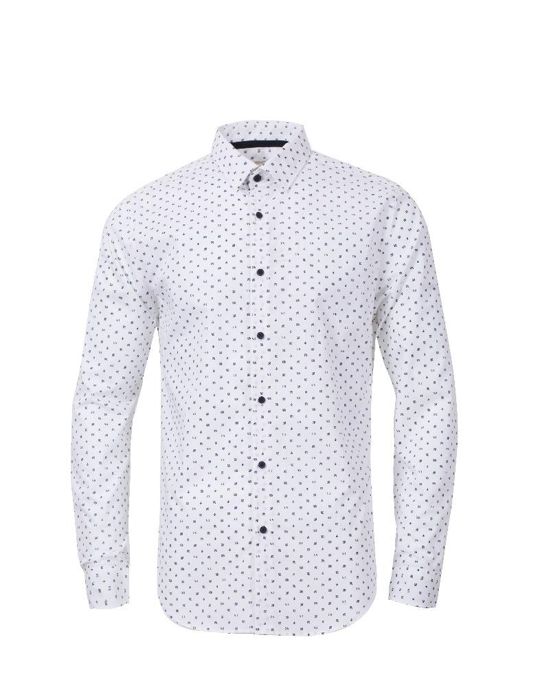 men shirt latest designs casual shirt 100% cotton long sleeve shirt printing white custom size new style top brand hot sale